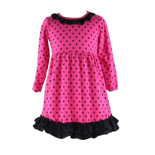 Wholesale baby girls 2015 long sleeve fall winter cotton polka dot fabric ruffle babeeni kids wholesale smocked dresses