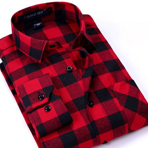 Flannel Men Plaid Shirts Autumn Luxury Slim Long Sleeve Brand Formal Business Fashion Dress Warm Shirts