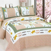 LY-810 Most popular 100% cotton handmade comforter pink color bedspreads