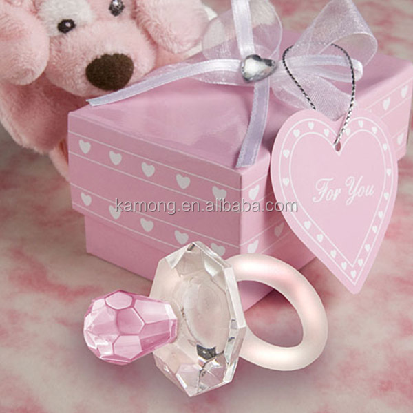 Elegant crystal pacifier baby favor