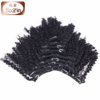Top quality malaysian kinky curly hair clip in hair extensions for black women