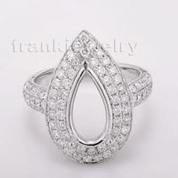 Pear cut 8x12mm Semi Mount Ring Settings & 1.30ct Diamond 18k White Gold Gemstone Engagement Ring Fine Jewelry WU252