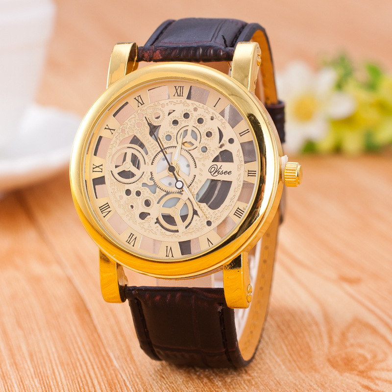 china supplier vogue skeleton watch leather quartz watch