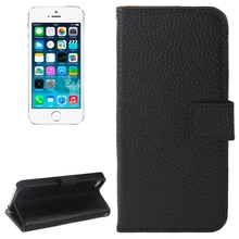 Litchi Texture Magnetic Button Flip Genuine Leather Case with Holder & Card Slots & Wallet for iPhone 5 / 5S