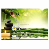 Zen Basalt Stones Wall Art/Green Spa Bamboo Picture Prints/Wall Decor Waterfall Painting on Canvas