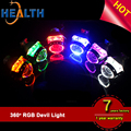 Bluetooth Control LED Demon Eye Halo Rings HID Projector Lights Lens Retrofit RGB 360 Devil Eyes