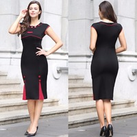 2017 Lady Clothes Dress Black Red Sexy Western Ladies Fashion Casual Dress Women