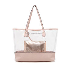 High quality trendy PVC transparent bag in bag waterproof beach tote