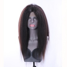 Best selling wholesale wig kinky straight yaki human hair wig brazilian 100% human hair lace front wig for women