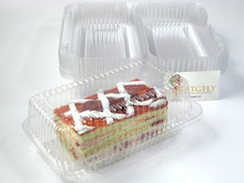 OPS clear lock-hinged cheese cake box container rectangular