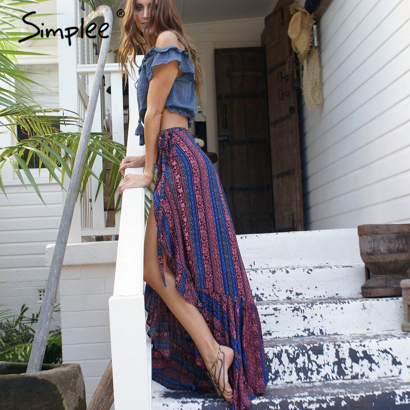 Simplee Vintage print long skirt Summer 2017 soft high waist mermaid skirt beach loose wrap maxi skirt for women vacation
