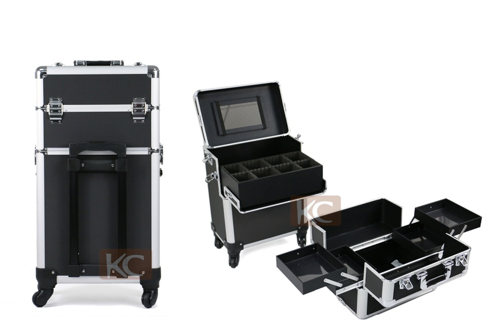 3 in 1 Professional makeup case Rolling Aluminum Make Up Case