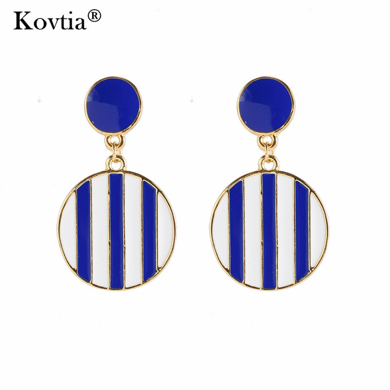 New Arrival Blue and White Stripes Clip On Earrings Without Piercing Popular Naval Wind Ear Cuff Clip Earring Bijoux