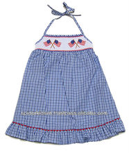 Infant/Toddler Girl Blue Gingham Smocked American Flags Dress