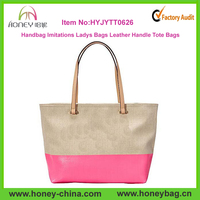 Handbag Imitations Ladys Bags Leather Handles And Canvas Tote Bags