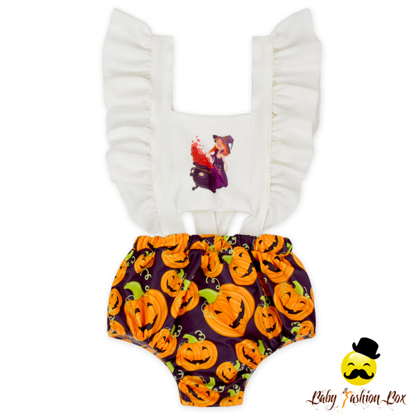 HYB209 Yihong Halloween PumpkinPrint Pearl Cap Sleeve Jumpsuit Cute Spanish Baby Clothes Wholesale Baby Clothes Manufacture