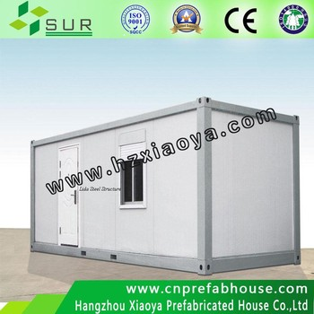 Prefab movable assembled 20ft container houses with glass curtain