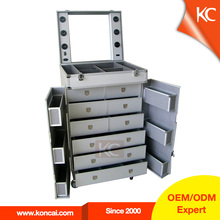 Professional Multilayer Drawers Personalized Custom Barber/Makeup/Beauty/Nail Aluminum Trolley Case With lighted mirror