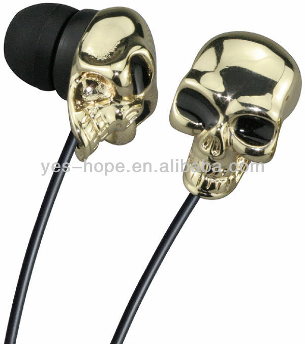 Top quality custom handsfree stereo mp3 mp4 skull punk earphones for music