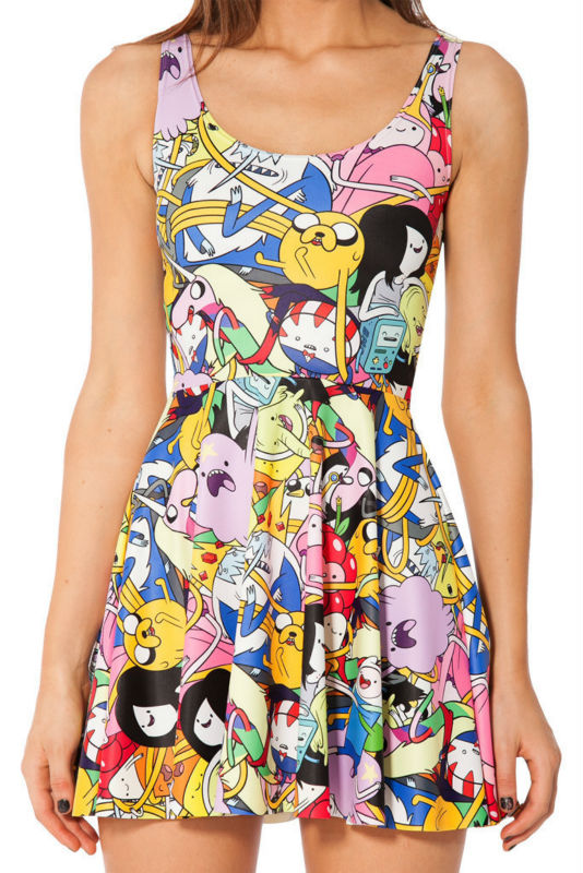 C81064A Sky Digital printing wholesale cartoon animals big battle Pleated Dress