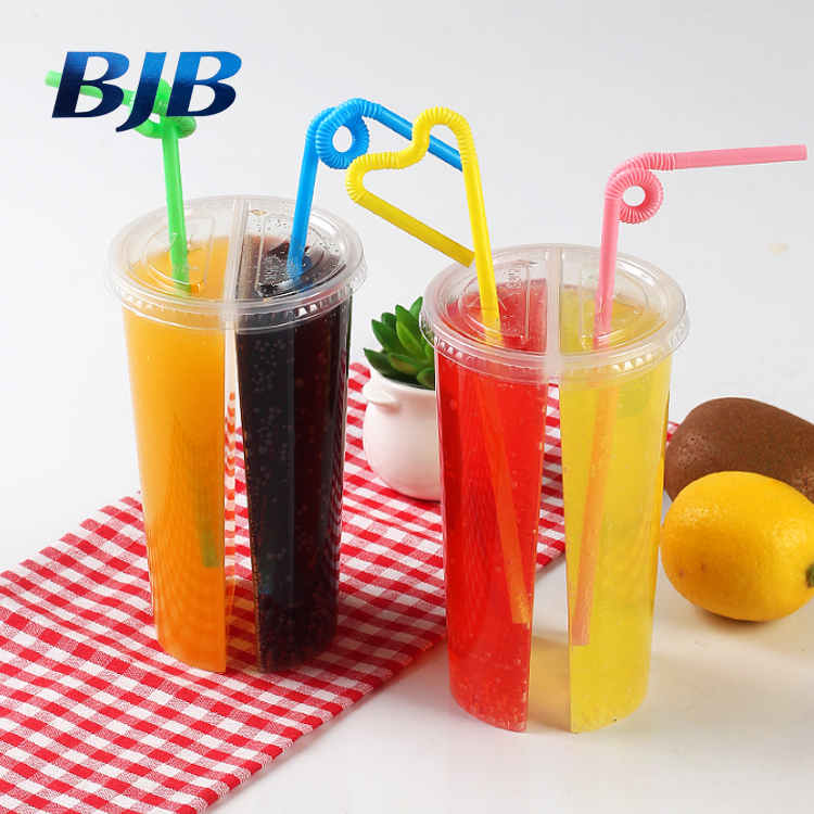 wholesale good quality pp plastic juice split twins shared cups