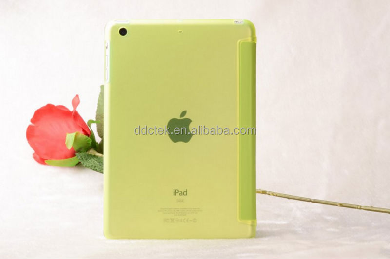 New arrival PC matte base and PU leather cover for ipad air 2 colors custom Yellow