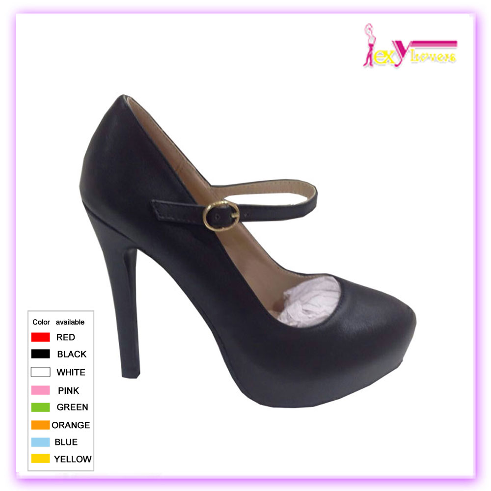 Women pu leather round toe ankle strap dress shoes high heel pumps