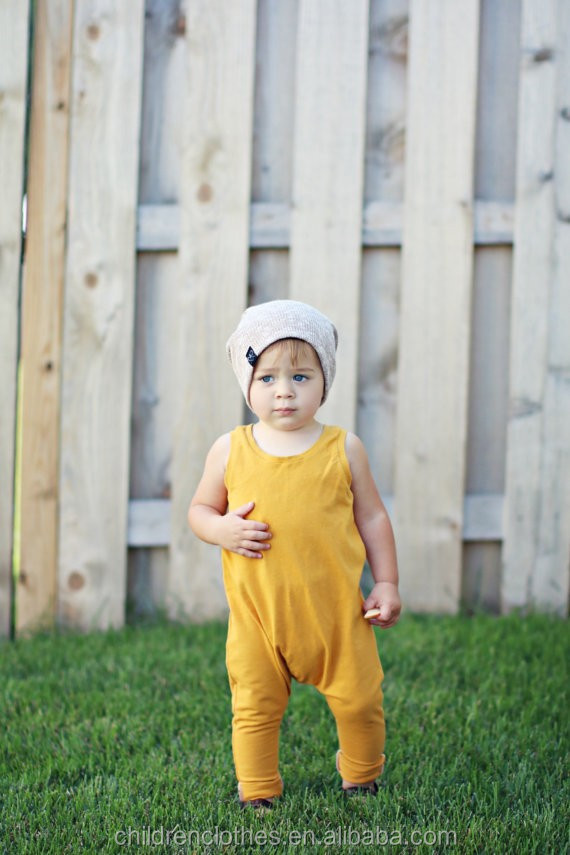 Baby boys clothes cotton yellow kids rompers