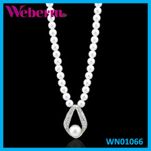 Simple design fake crystal beaded pearl necklaces in bulk for gift jewelry