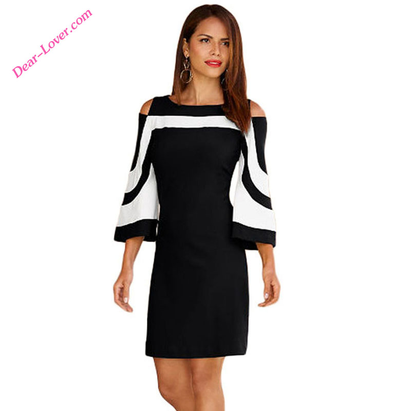 high quality classic casual women black and white dress