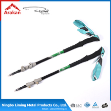 inner lock 3section adjustable,embroider rubber foot tungsten carbide steel carbon fiber trekking poles