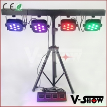 Best chips professional stage led par bar kit foot controller LED par bar set , 7pcs 10W RGBW LED 4 par DJ light
