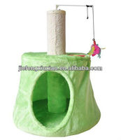 Electric Feather Ball Cat Scratching Post with a House