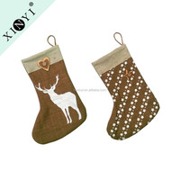 Chinese home decoration custom burlap christmas stockings cheap bulk christmas gifts wholesale christmas ornaments