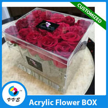 Wholesale Clear Cube Square Acrylic Flower Box With Lids