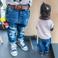new 2016 Europe Hot Autumn ins children cotton hole Jeans kids jeans