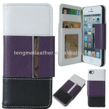 Sublimation Hybrid Case For Apple iPhone5S 5C,TriColor PU Leather Wallet Case Cover for iPhone 5S/5C Purple/Black/White