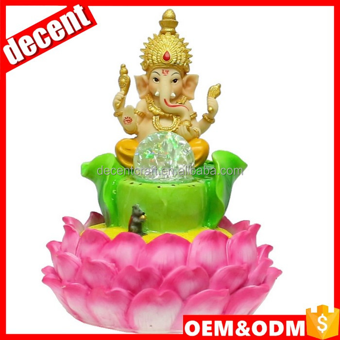 Polyresin hand painted ganesh water fountain