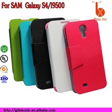 China manufacturer card slot leather case for samsung galaxy s4 , for I9500 phone leather cover