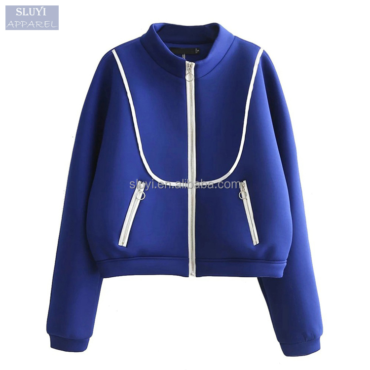 Women Casual loose Pilot Jacket no collar Long Sleeve 2017 Autumn Zip Up Contrast royal blue varsity jacket with big Pockets