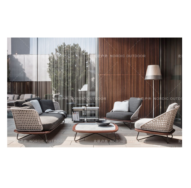 Sigma all weather modern design Nordic style garden outdoor furniture rattan sofa set