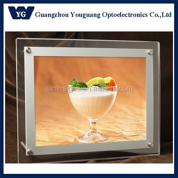 Acrylic Sign Holder for Wall, LED Illuminated - Silver Border