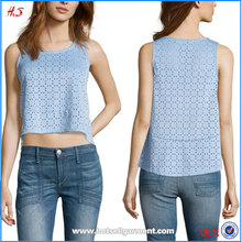 Best Selling Products New Fashion Girls Tops Baby Blue Scuba Knit Laser Cutout Women Sleeveless Peplum Blouse and Top