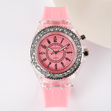 Geneva Diamond Women LED Lighting Watch Silicone LED Light Watch