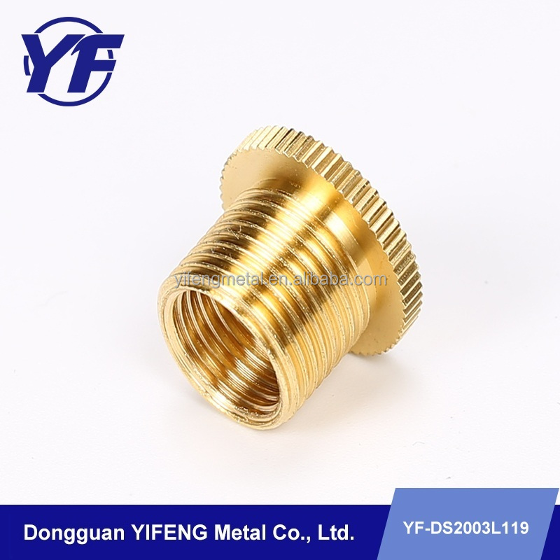 High polished brass Parts , knurled flange screw nut , precision CNC Lathe Machining Part