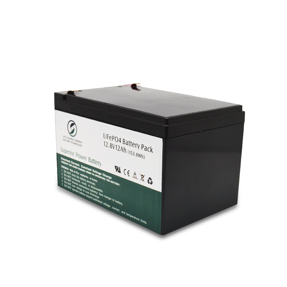 12V 12Ah LiFePO4 18650 rechargeable battery pack for off-grid solar system storage