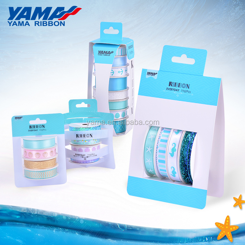 YAMA new retail stocked custom 4 series satin grosgrain packing sets DIY ribbon