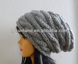 2014 New Fashion Grey Hand Knit Hat Slouchy Cable Beanie