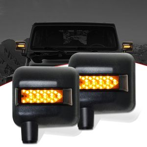 For jeep wrangler jk accessories car led turning signal side view mirror cover led offroad car mirror with drl spot light