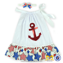 Children Frocks Design Glitter Anchor Patriotic Dress Fashion Baby Cotton Dress Pictures Baby Dress New Style